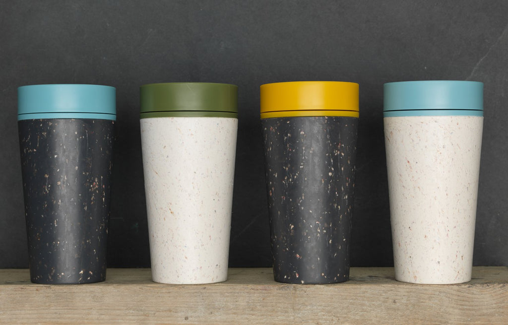 rCup - World's First Reusable Cup Made from Recycled Cups (Black - Mustard) - Bleisure Travels