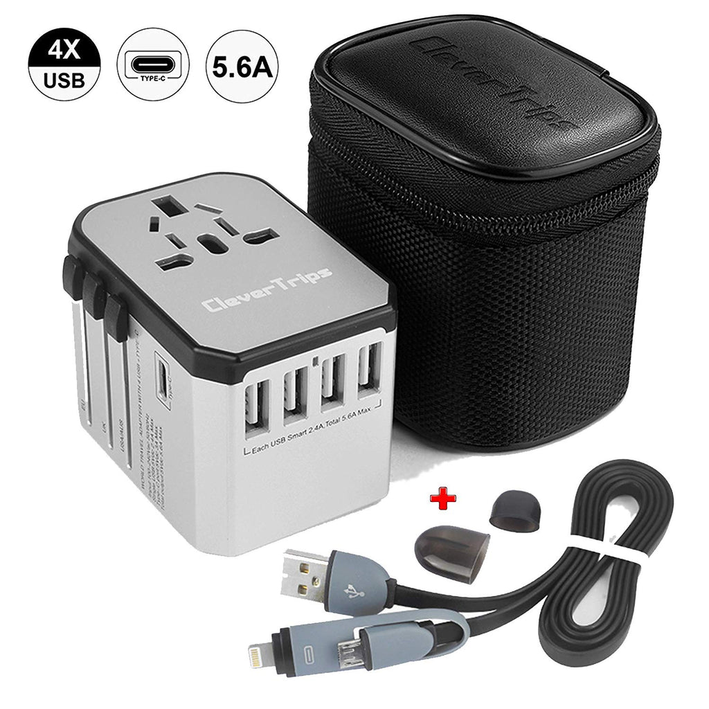 CleverTripsTM Universal Travel Power Adapter All in One Worldwide International