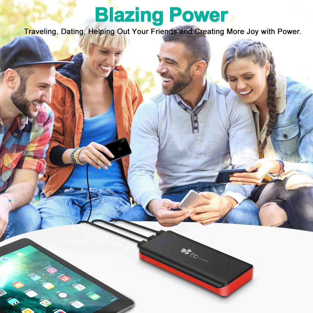 EC Technology Portable Charger 22400mAh Power Bank Ultra High Capacity External Battery with Auto IC for Smartphone, Black & Red - Bleisure Travels