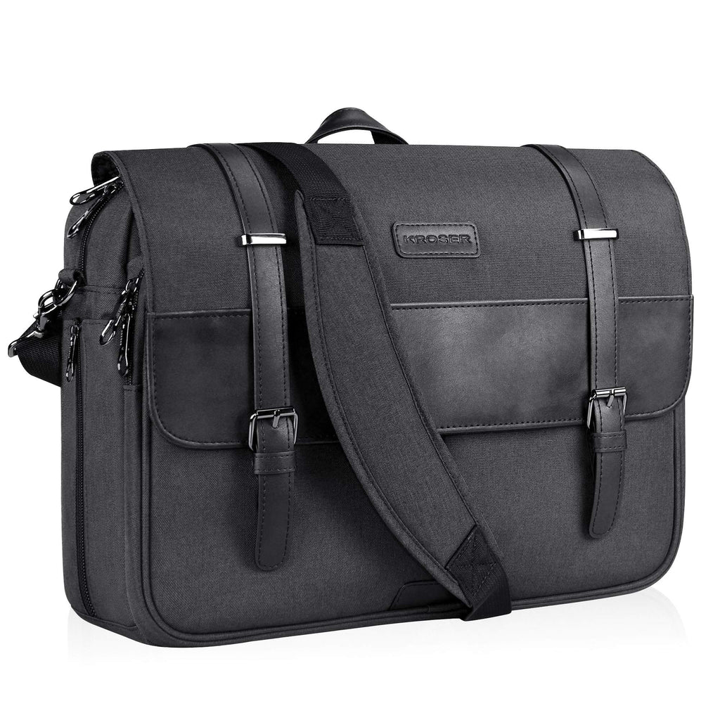 KROSER Laptop Messenger Bag 15.6 inch Water-Repellent -Charcoal Black - Bleisure Travels
