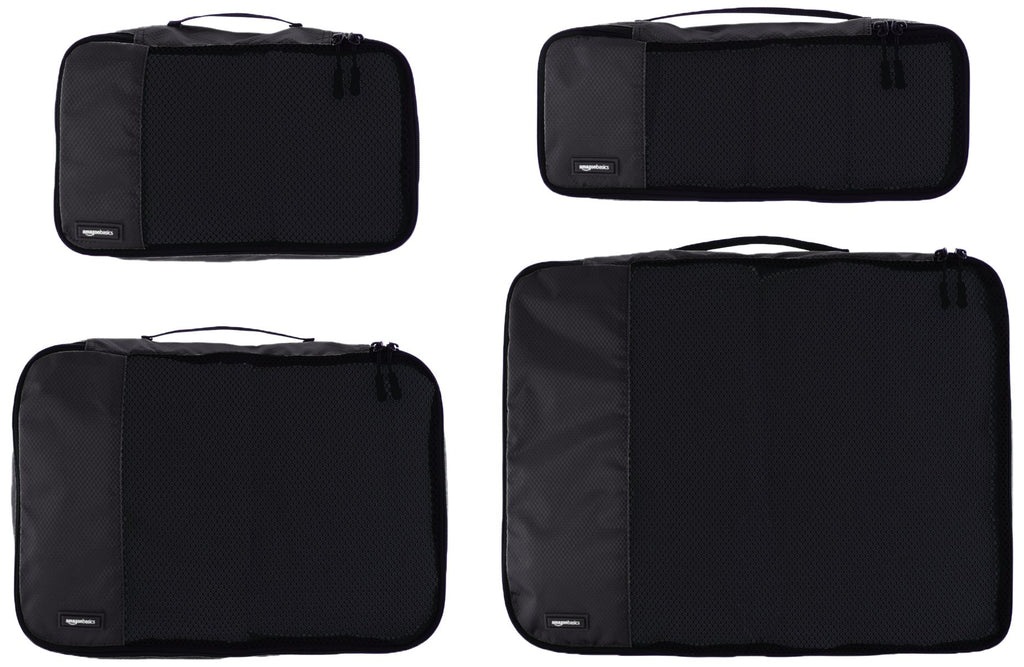 AmazonBasics Packing Cubes - Small, Medium, Large, and Slim (4-Piece Set), Black