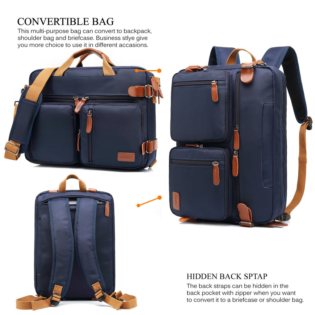 CoolBELL Convertible Backpack Shoulder bag Fits 17.3 Inch Laptop (Dark Blue) - Bleisure Travels