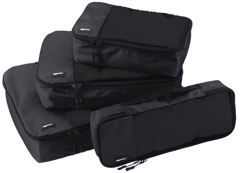 AmazonBasics Packing Cubes - Small, Medium, Large, and Slim (4-Piece Set), Black - Bleisure Travels