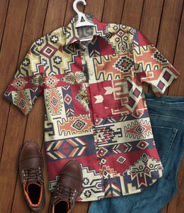 2020 Hot Aztec Pattern Men Shirts 100% Cotton (Have Pocket)