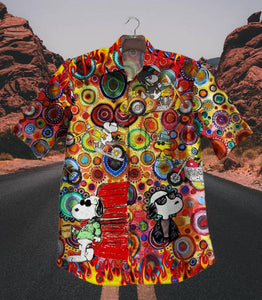 2020 Hot Ghost Rider Snoopy Vintage Hawaiian Shirt 100% Cotton