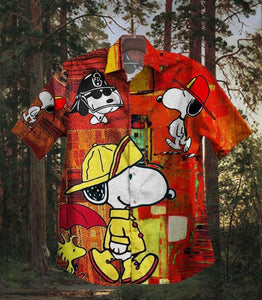 2020 Hot Snoopy FireFighter Vintage Hawaiian Shirt 100% Cotton