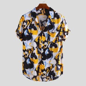 Men Lion Print Short Sleeve Relaxed Shirts