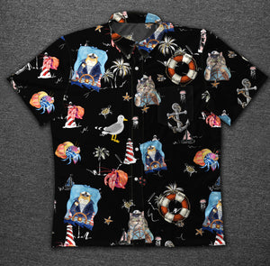 Marine Cat 1433 Vintage Cotton Hawaiian Shirt