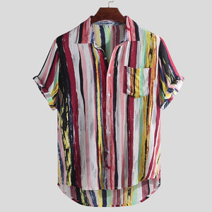 2020 HOT NewCool men's clothing Mens Multi Color Lump Chest Pocket Short Sleeve