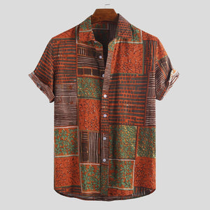 Mens Summer Ethnic Colorful Pattern Short Sleeve Hawaiian Casual Shirts