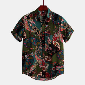 Men's Ethnic Style Floral Printing Shirt Turn Down Collar Short Sleeve Shirt
