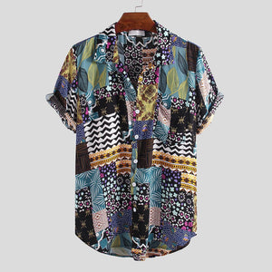 Mens Summer Ethnic Printed Colorful Short Sleeve Casual Shirts
