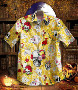 2020 Hot Skull Flower Vintage Hawaiian Shirt