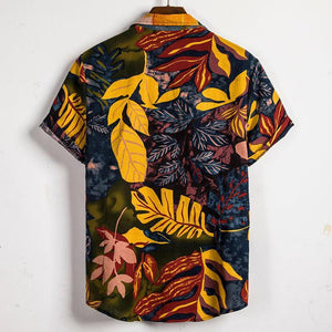 Mens Casual Summer Vacation Loose Floral Printing Hawaiian Shirts
