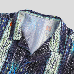 Men Neon Snake Print Short Sleeve Relaxed Shirts