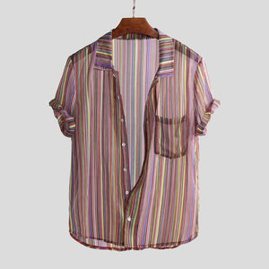 Men Summer Ethnic Striped Printed Turn Down Collar Short Sleeve Lightweight shirts