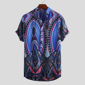 Mens Summer Stand Collar Ethnic Printed Holiday Casual Henley Shirts