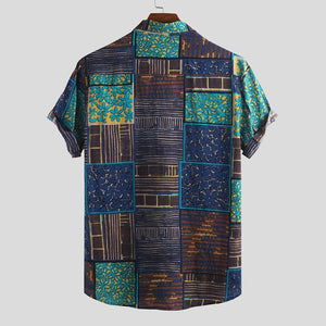 Mens Patchwork Printed Ethnic Style Loose Short Sleeve Casual Shirt