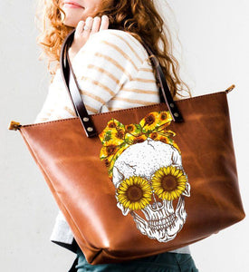 Skull –  Sun flower Tote Bag Leather