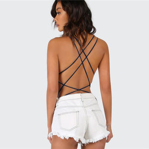 Women Strappy Backless Black Sleeveless Summer Beach Hot Bodysuits
