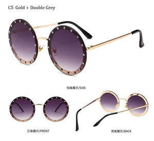 2019 Oversized Round Rivet Designer Sunglasses