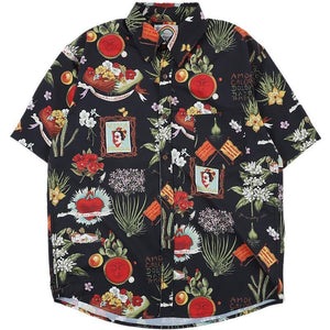 Hawaiian Summer Beach Casual Loose Flowers Vintage Men Shirts