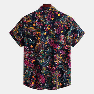 Mens Summer Holiday Ethnic Printed Short Sleeve Casual Hawaiian Shirts