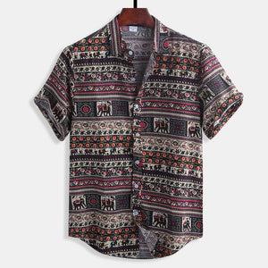 Mens Floral Printing Ethnic Style Cotton Shirts Short Sleeve Loose Casual Shirt Tops
