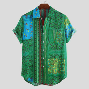 Mens Floral Printing Patchwork Ethnic Style Summer Short Sleeve Loose Casual Shirt