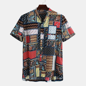 Mens Vintage Stylish Pattern Summer Loose Trendy Printing Shirts