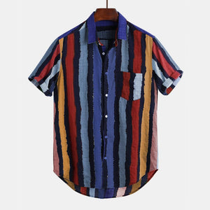 Mens Contrast Color Striped Chest Pocket Turn Down Collar Short Sleeve Shirts