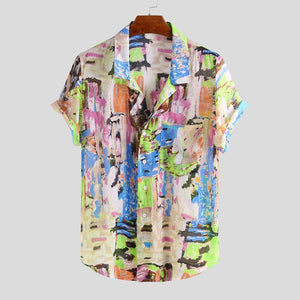 Mens Funny Graffiti Color Printing Turn Down Collar Short Sleeve Lightweight Shirts