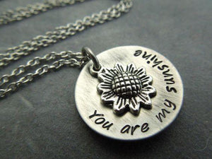 You are my sunshine- Sunflower necklace