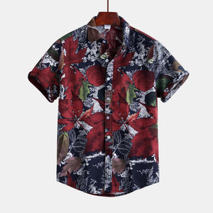 Mens Leaf Printing Short Sleeve Linen Casual Hawaiian Shirts
