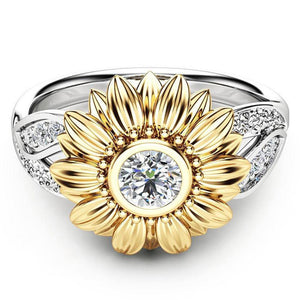 Exquisite Silver Crystal Sunflower Rings For Women