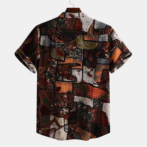 Mens Ethnic Style Loose Summer Short Sleeve Printed Turndown Collar Casual Shirt