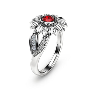 Ruby Sunflower Ring