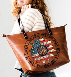 A Good Girl – Independence day Leather Tote Bag