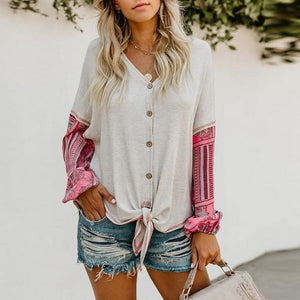 Boho Casual Women Tops Loose Cardigan Lantern Sleeve