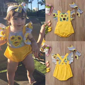 Sunflower Fly Sleeve Romper + Headband Outfit Sunsuit Set Clothes