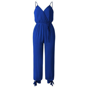 V Neck Sexy With Belt Overalls Print Spring Summer Jumpsuit