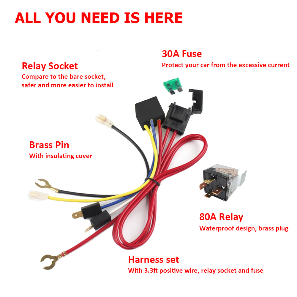 Automotive Car Truck Vehicle Air Horn Relay /& Wire Kit 12V 30A Postive /&Negative