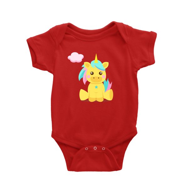 Unicorn Yellow Baby Romper