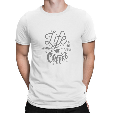 Life Begins After Coffee Adult T-Shirt