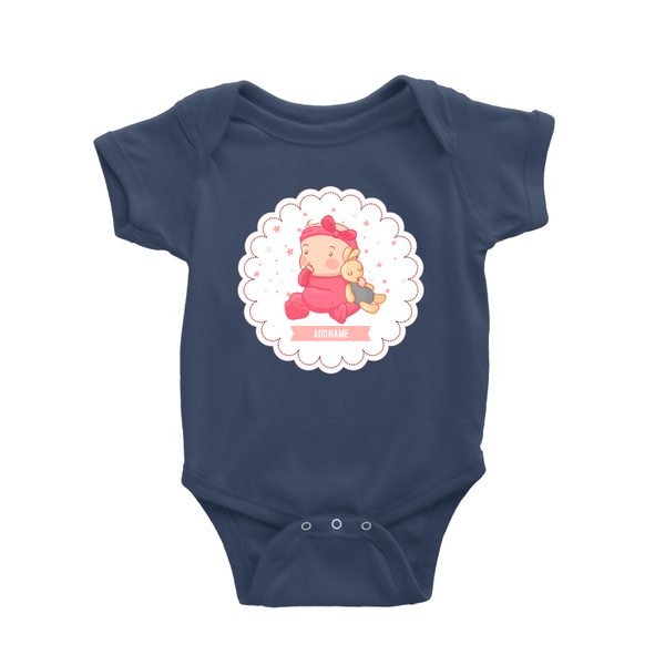 Cute Baby Girl in Cloud Baby Romper (Personalised Name)