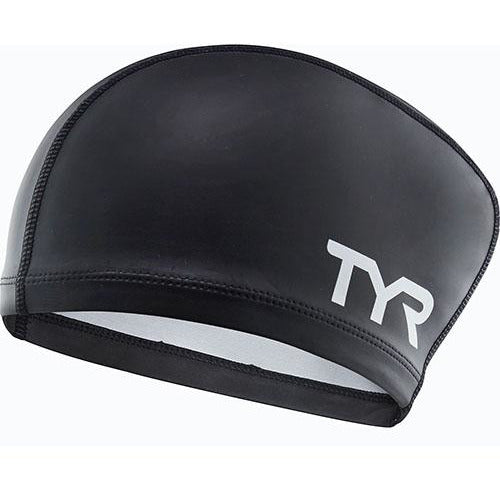 TYR BLACK LONG HAIR SILICONE COMFORT SWIM CAP