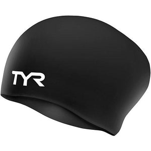 TYR BLACK LONG HAIR WRINKLE FREE SILICONE CAP