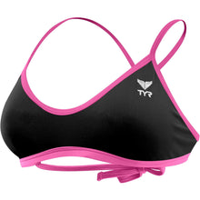 TYR WOMEN'S BLACK/PINK CROSSCUT TIEBACK TOP