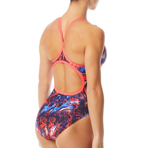 TYR WOMEN'S RED/WHITE/BLUE PENELLO DIAMONDFIT SWIMSUIT