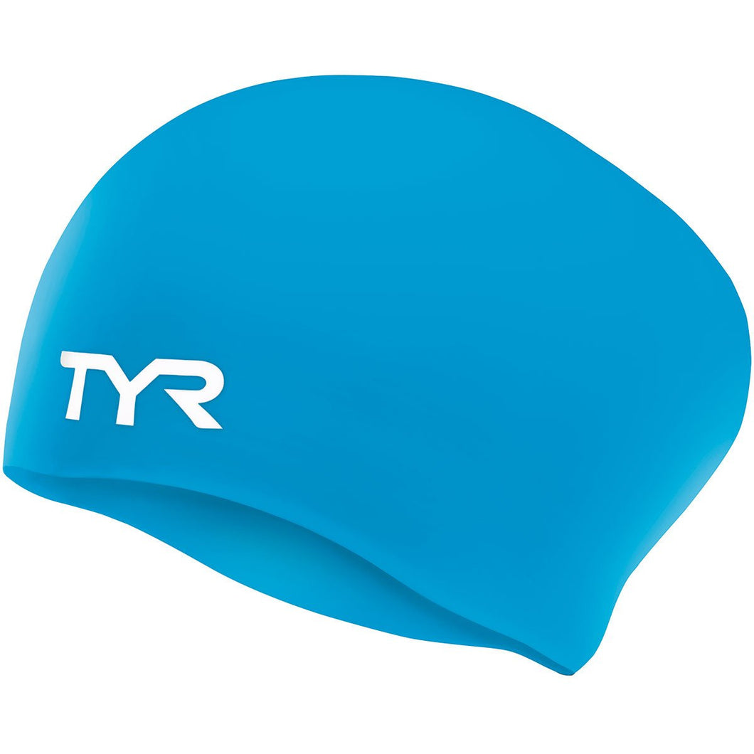 TYR BLUE WRINKLE FREE JR LONG HAIR SILICONE CAP